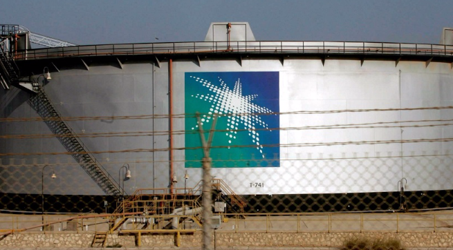An oil tank outside Saudi Aramco's headquarters in the city of Damam, Saudi Arabia. Picture:  REUTERS/ALI JARAKJI