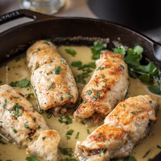 Belgian Wheat Beer Chicken Roulades with Vindaloo Garlic & Coconut Milk.