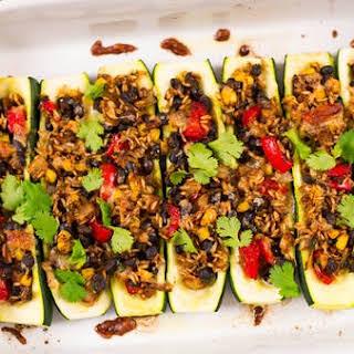 Meatless Mexican Zucchini Burrito Boats.