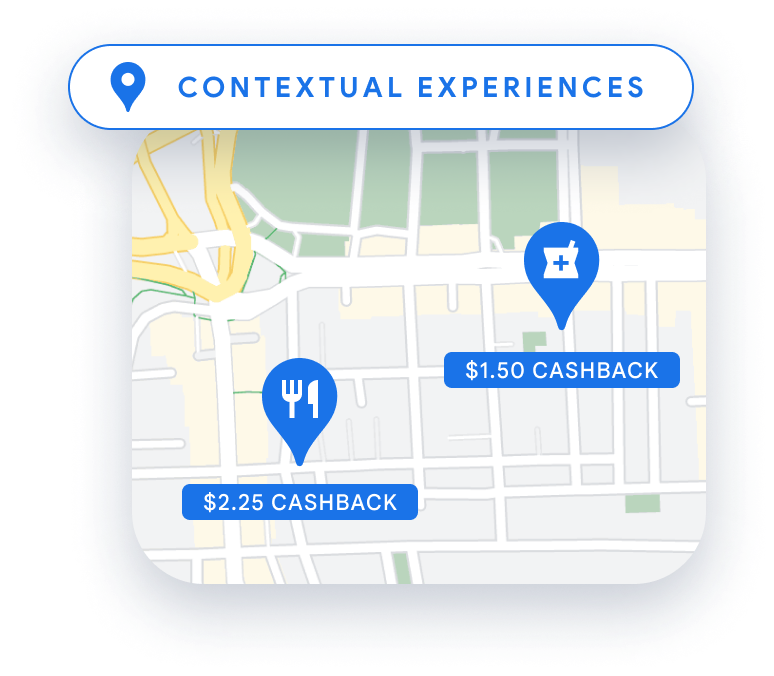 Person swiping credit card at a retail store, with cashback amounts shown on a map