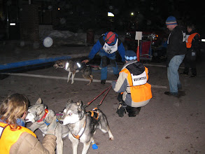Photo: Volunteers holding the dogs while Jim finishes attaching them to the sled.