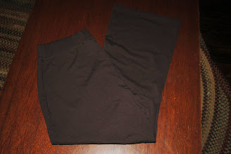 """Photo: Brown Knit Maternity pants. Bootcut. Duo Maternity XL $5 These are more """"work"""" pants and are not like a yoga pant. They don't fade because of the type of fabric."""