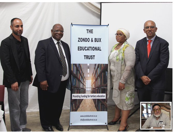 The official launch of the Zondo & Bux Educational Trust at Amazabeko High School in Highflats, KwaZulu-Natal in January 2019 - from Left to Right- Mohamed Bux (trustee), Judge Raymond Zondo (deputy chair), Sithembile Zondo (trustee), Shabir Chohan (secretary) Inset Suleman Bux (chairperson).