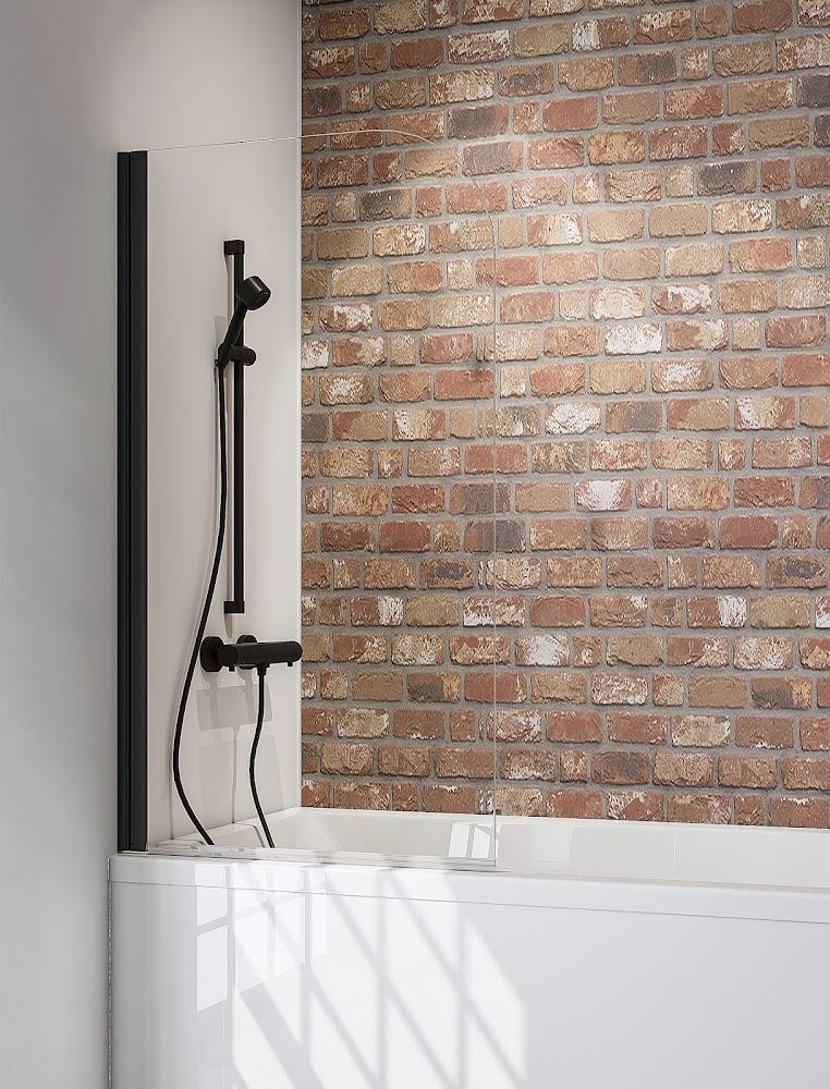 1 volet pare baignoire 140 cm style industriel profile noir