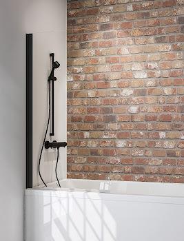 Pare-baignoire Black Style, 80 cm, 1 volet, style industriel, profilé noir