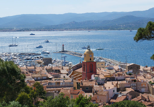 View of St. Tropez and the surrounding harbor in the south of France.