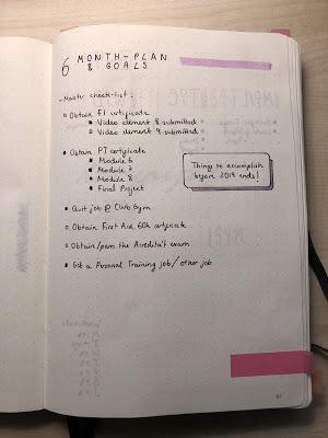 List of goals on a bullet journal