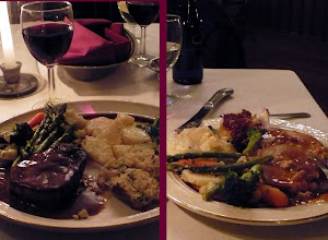 Photo: These our our entrees. I had the steak and crab cake on the left.