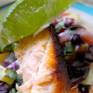 Cocoa Spiced Salmon Tacos with Jicama Green Mango Slaw