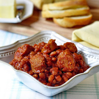 Maple Apple Baked Beans with Apple Sausage