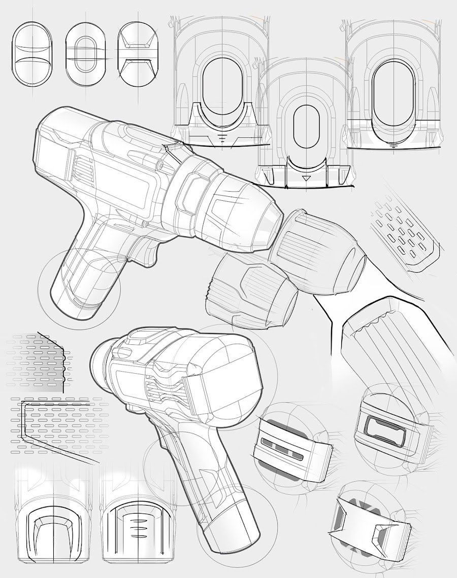 Early 2D Designs for an Ergonomic Portable Drill