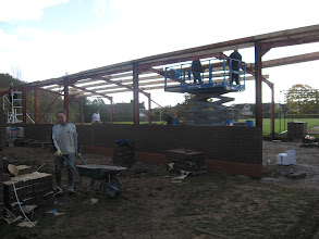 Photo: Bolting purlins to the roof frame