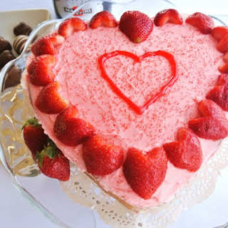 Almond Sour Cream Pound Cake with Heart-Shaped Strawberries.
