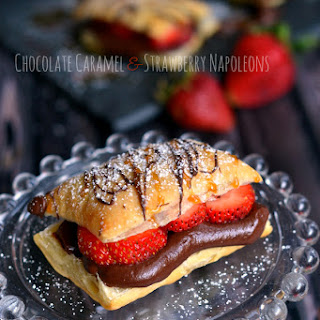 Chocolate Caramel and Strawberry Napoleons