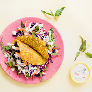 Crispy Pancake With Chicken And Asian Slaw.