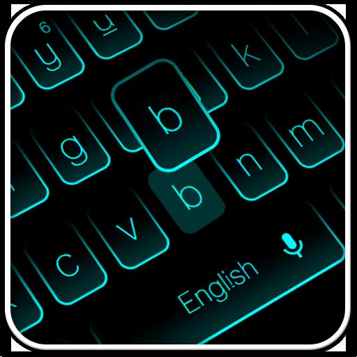 Neon Blue Black Keyboard
