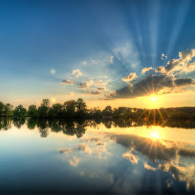Sunset over the Lake by Michael  Kitchen - Landscapes Sunsets & Sunrises