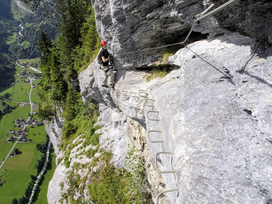 The via ferrata goes from Murren to Grindewald, a lower elevation village. The route is therefore mostly a traverse at a downward incline, with a few ladders thrown in.