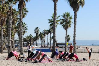 Photo: Yoga class on the beach in Santa Monica.