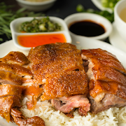 Roast Baby Pig, Chicken & Duck with Rice Dish