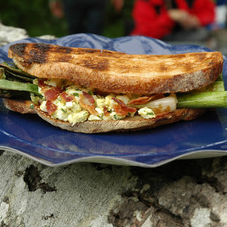 Grilled Vegetable Sandwich with Egg Salad and Bacon.