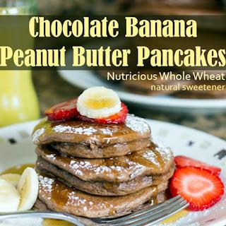 Banana Chocolate Peanut Butter Pancakes.