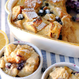 {Healthy} Blueberry Lemon Bread Pudding