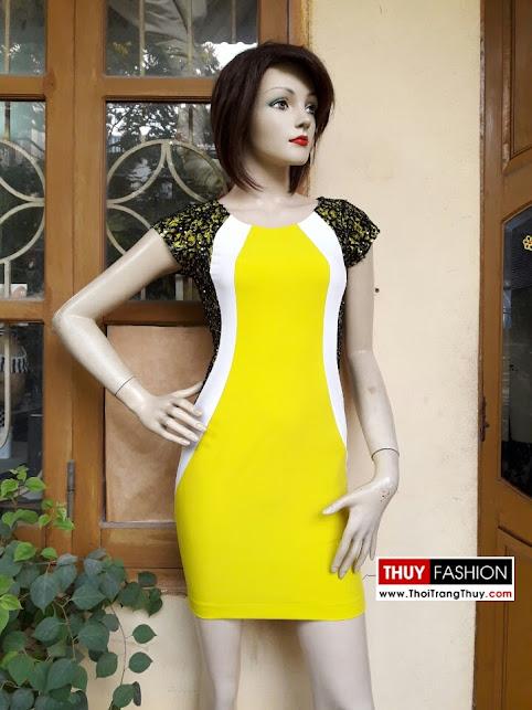 Váy dự tiệc phối màu ren sequin V266