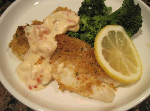 Bread Crumb Topped Haddock With Red Pepper Aioli Recipe