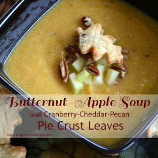 Butternut-Apple Soup with Cranberry-Cheddar-Pecan Pie Crust Leaves Recipe