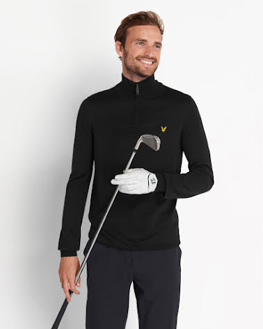 Lyle & Scott Golftröja 1/4 Zip Svart