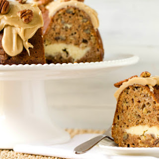 Apple Bundt Cake with Cream Cheese Filling & Praline Frosting