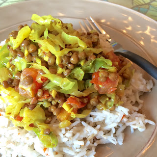 Onion Cabbage and Lentils with Rice.