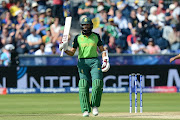 Hashim Amla of South Africa reacts to his half-century during the ICC Cricket World Cup match between Sri Lanka and South Africa at The Riverside Durham on June 28, 2019 in Chester-le-Street, England.