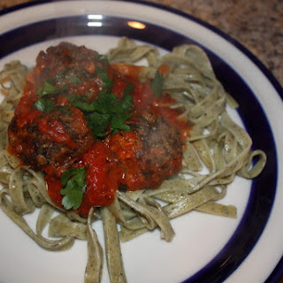 Mushroom Meatballs over Basil Garlic Pasta.