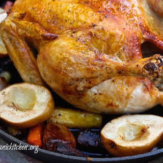 Roasted Skillet Chicken with Honey Ginger Glazed Carrots and Pears Recipe