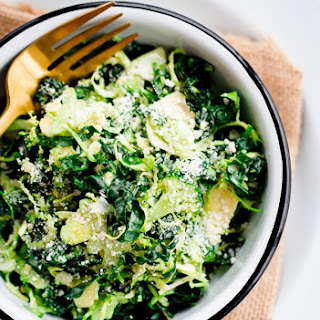 Shaved Broccoli, Brussels Sprouts, and Kale Salad with Truffle Parmesan Dressing