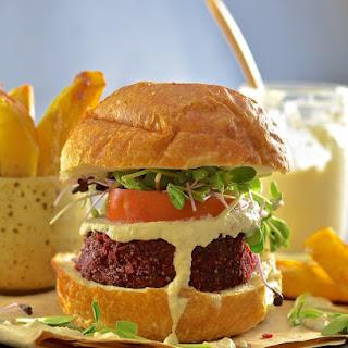 Beet Lentil & Quinoa Burgers with Creamy Horseradish Sauce