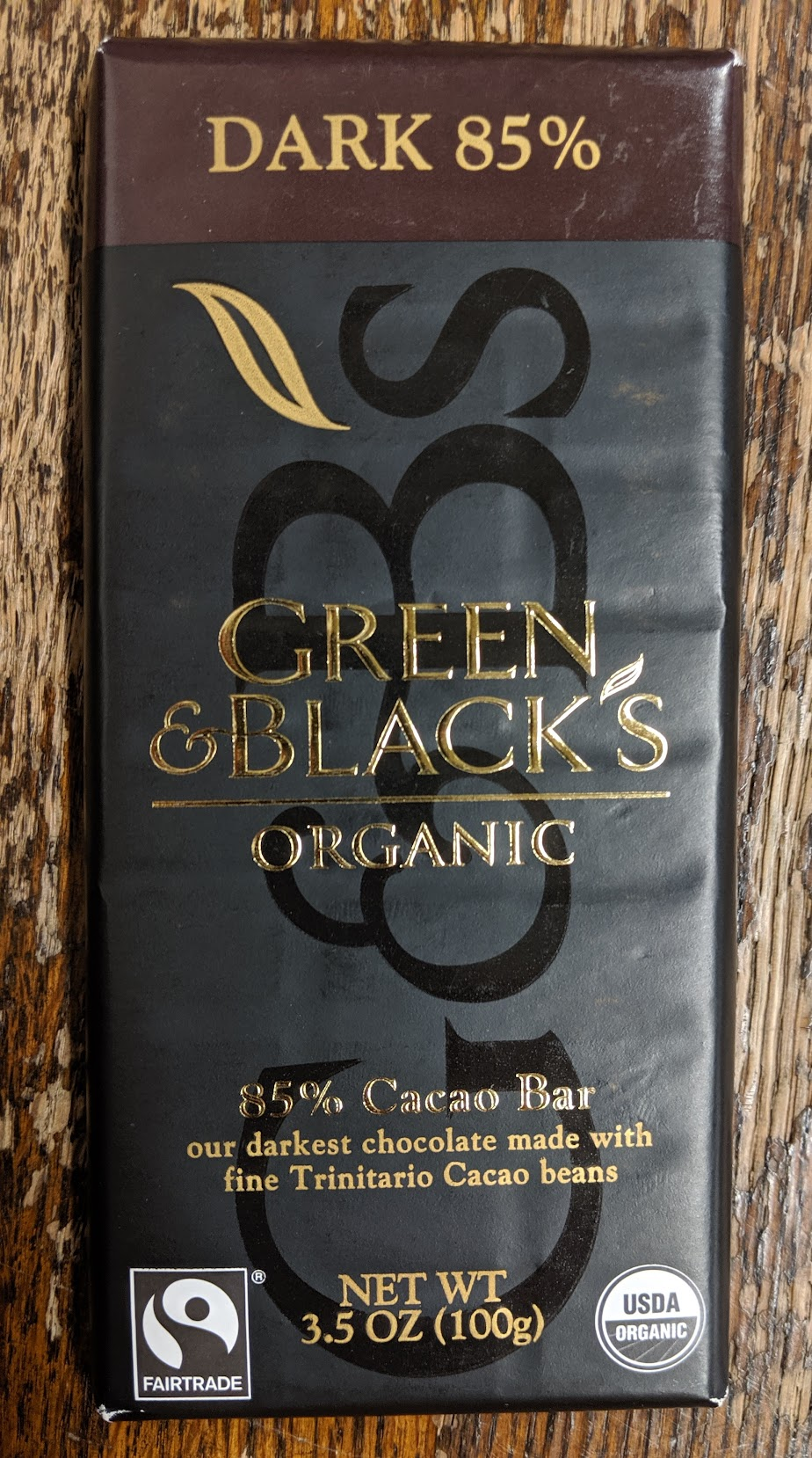 85% green & black's bar