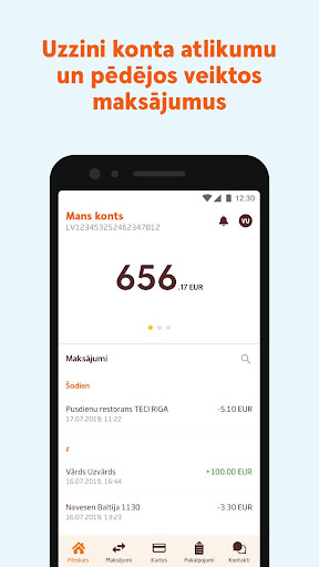 Swedbank Latvia screenshot