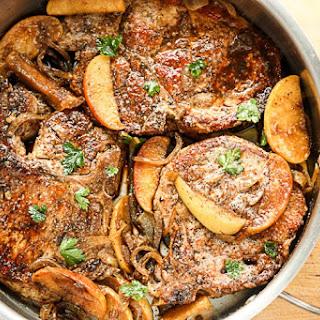 Glazed Pork Chops with Carmelized Apples & Onions.