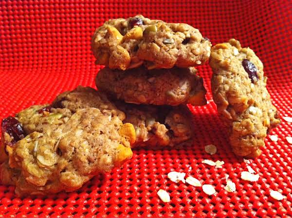 Cookies And Oats On A Red Table Mat.
