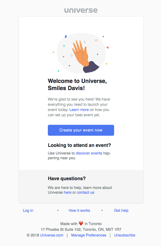 Example of Universe welcome email.