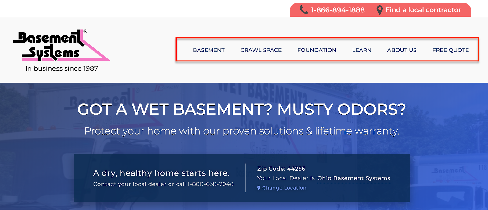Clear navigation on a website showcases product and services.