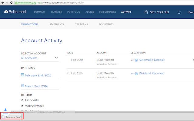 Betterment PDF to CSV exporter