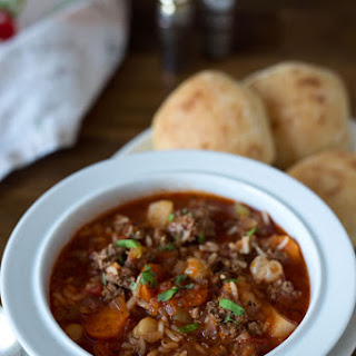 Pressure Cooker Vegetable Beef and Rice Soup.