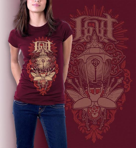 "Photo: ""Clockwork scarabei""  Red shirt.  2 color print.  Sizes: S, L"