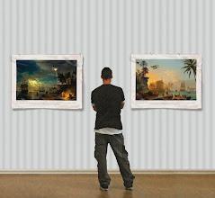 Photo: Version panoramique en papier peint trompe l'œil collé sur le mur.
