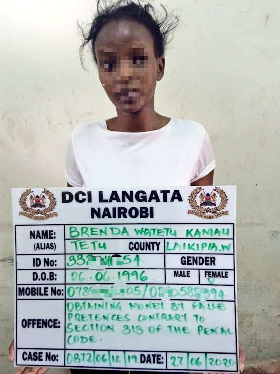 One of the suspects, Brenda Kamau, who was arrested by DCI Lang'ata detectives.