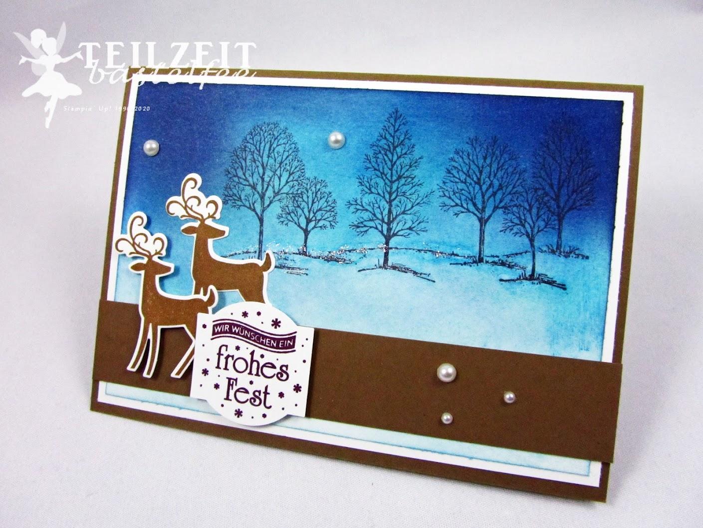Stampin' Up! - Inkspire_me, Christmas, Weihnachten, Lovely as a Tree, deers, Rehe, Hirsche, Winterlandschaft